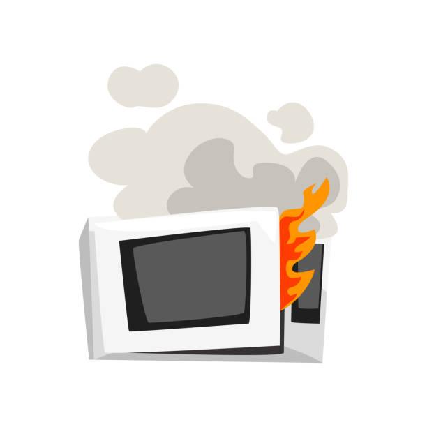 ilustrações de stock, clip art, desenhos animados e ícones de broken burning microwave oven, damaged home appliance cartoon vector illustration on a white background - burned oven