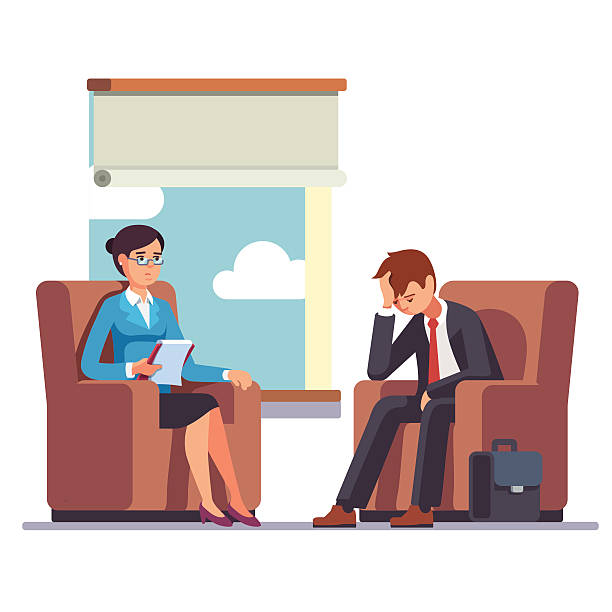 ilustrações, clipart, desenhos animados e ícones de broken businessman talking to psychologist - profissional de saúde mental