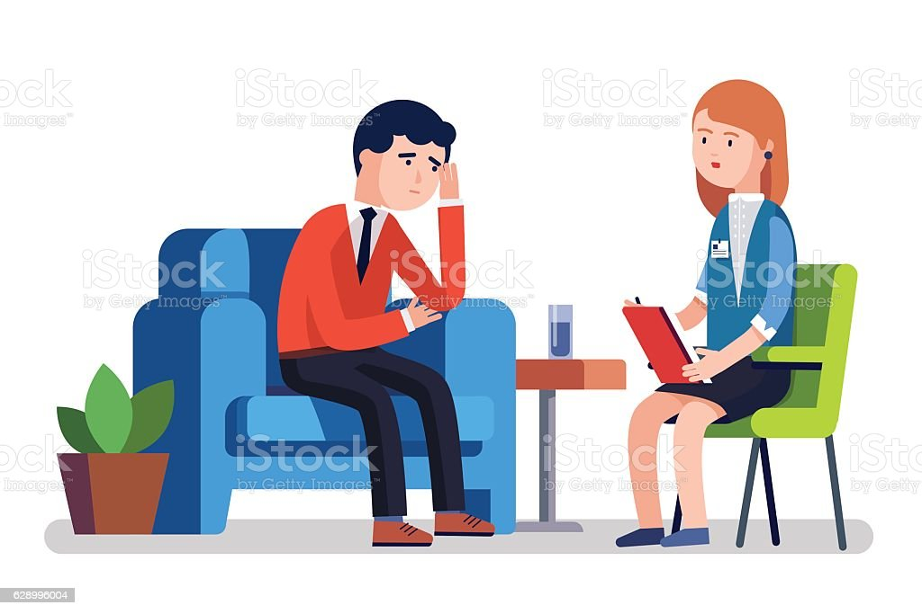 Broken businessman talking to psychologist vector art illustration