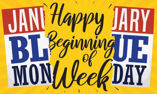 stockillustraties, clipart, cartoons en iconen met gebroken kalender met blauwe maandag datum en begroeting - blue monday