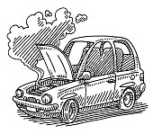 Broken Car Open Hood Drawing
