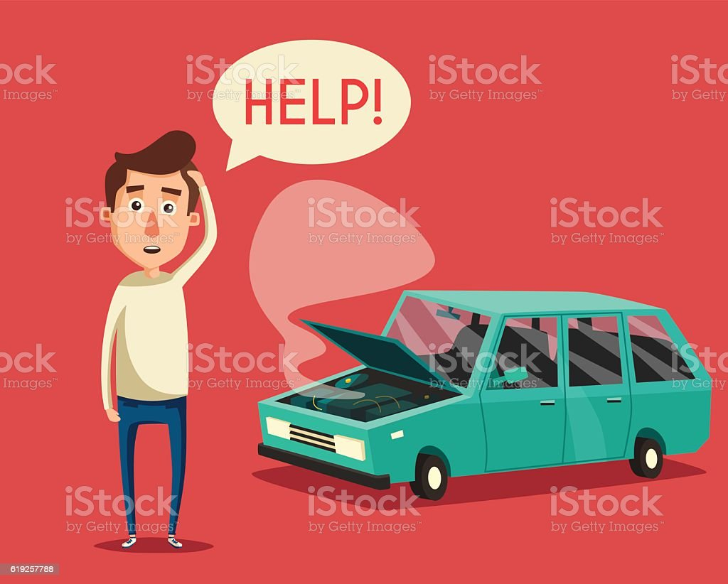 Broken car. Vector cartoon illustration. Need help vector art illustration