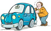 Illustration of man pushing car.