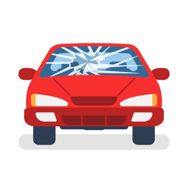 bildbanksillustrationer, clip art samt tecknat material och ikoner med trasig bil vindrutan. - krockad bil