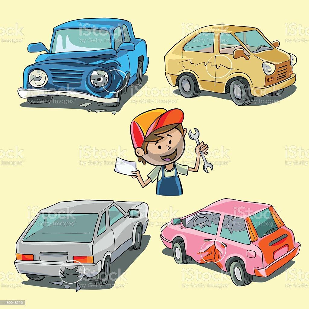 Broken cars vector art illustration