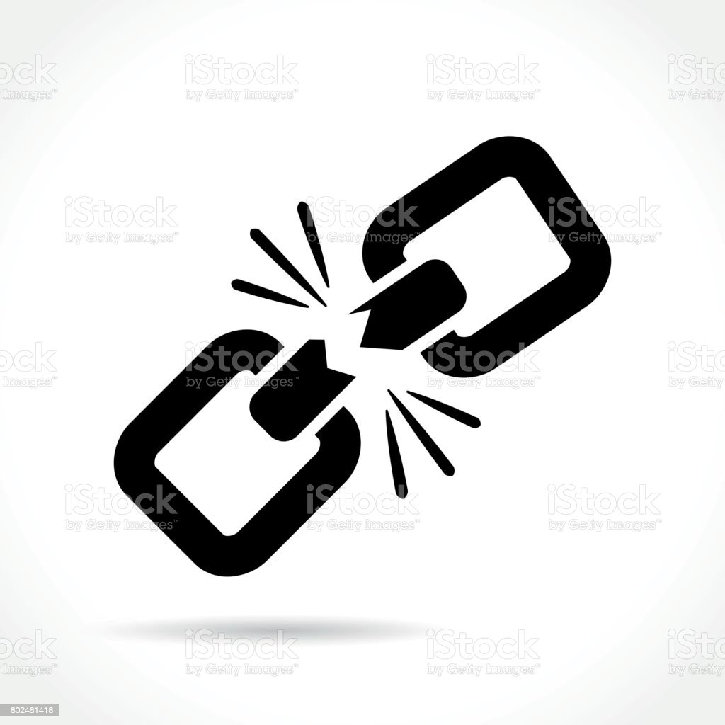 broken chain icon vector art illustration
