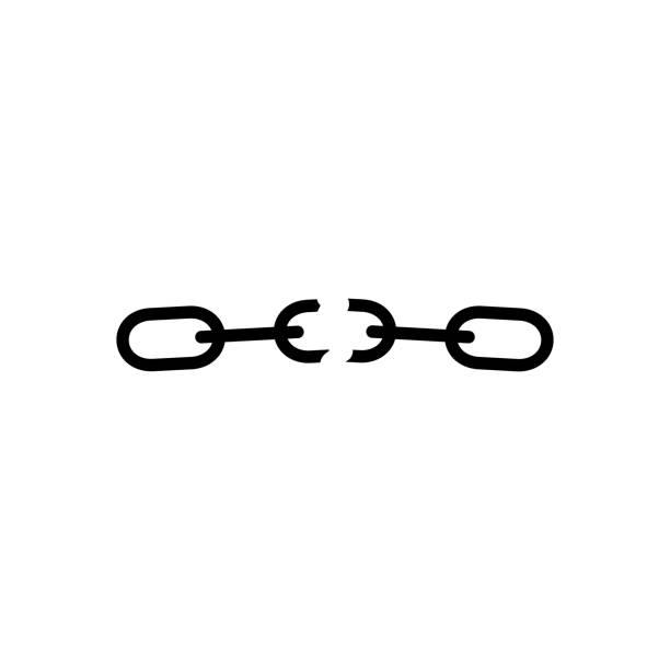 Broken chain icon vector Broken chain icon vector illustration isolated on white. detach stock illustrations