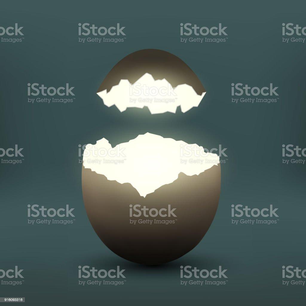 Broken chicken egg vector art illustration