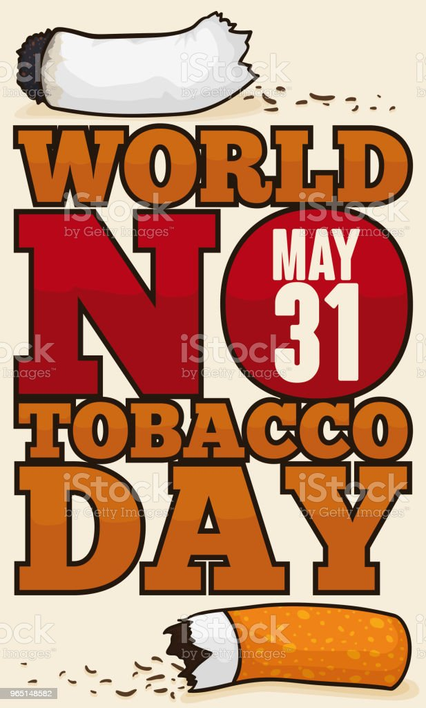 Broken Cigarette and Awareness Message for World No Tobacco Day broken cigarette and awareness message for world no tobacco day - stockowe grafiki wektorowe i więcej obrazów baner royalty-free