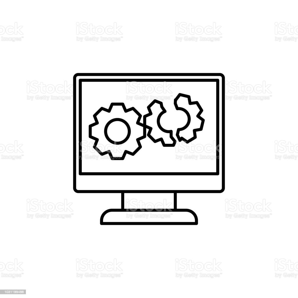 broken computer system line icon. Element of cyber security icon for mobile concept and web apps. Thin line broken computer system icon can be used for web and mobile. Premium icon vector art illustration