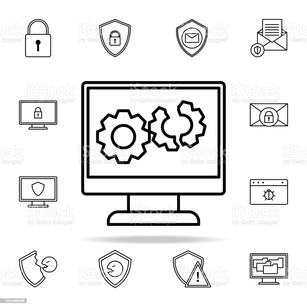 broken computer system line icon. Virus antivirus icons universal set for web and mobile vector art illustration