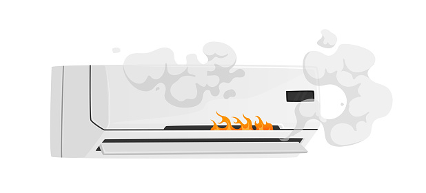 Broken Conditioner with Smoke and Fire Isolated on White Background. Destroyed Household Appliances, Damaged Technics