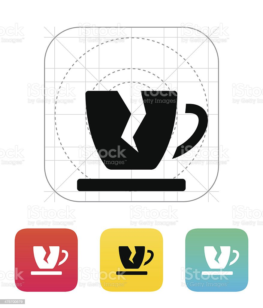 Broken cup icon. royalty-free stock vector art