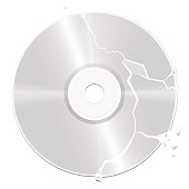 Broken, damaged CD - isolated vector illustration on white background.