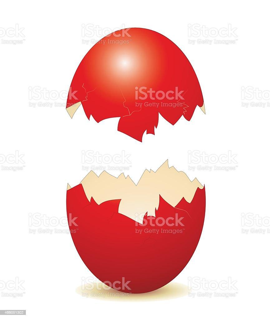 Broken Easter egg as an advertising sign vector art illustration
