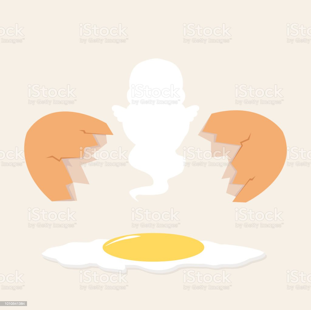 Broken Egg Shell Vector With Yolk On The Floor And Ghost Stock Illustration Download Image Now Istock
