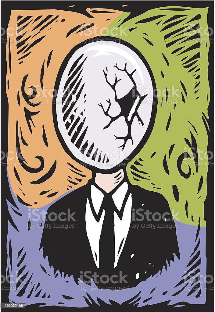 Broken Egghead vector art illustration