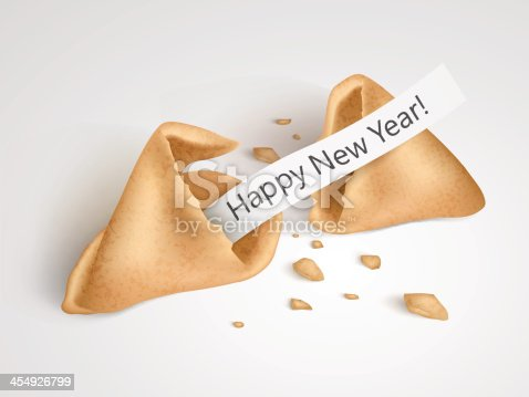 Vector eps10 realistic cracked fortune cookie with place on paper for your text.