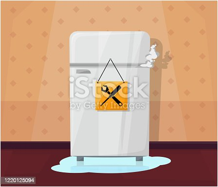 Broken fridge with water flowing out and smoke.Home interior. Sign repair. Vector illustration.