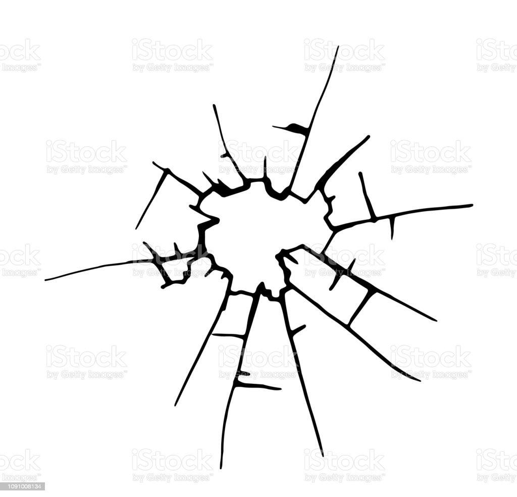 Zerbrochenes Glas, Risse, Aufzählungszeichen markiert auf Glas. – Vektorgrafik