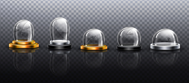 Broken glass domes on metal and gold podium