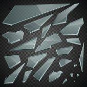 Broken glass elements in vector