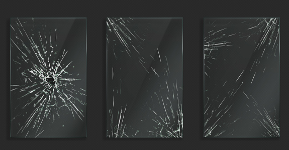 Broken glass frames with cracks and hole