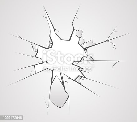 Broken glass cracks hole transperent background vector illustration