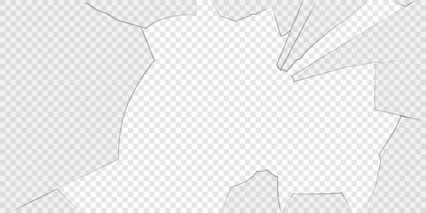 Broken glass isolated on transparent background. vector art illustration