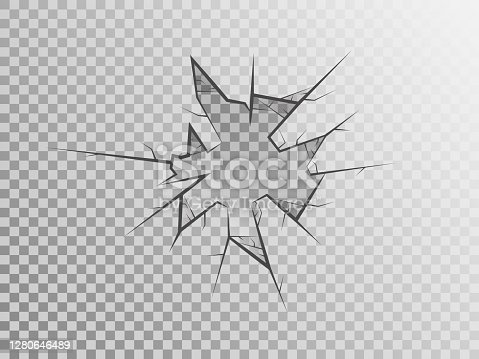 istock Broken glass on transparent backdrop. Cracked window concept. Realistic crack texture. Pieces of glass isolated. Smashed window. Crime scene mockup. Vector illustration 1280646489