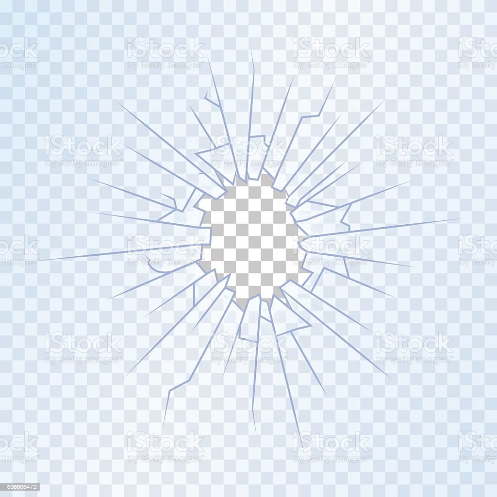 Broken Glass on Transparent Background. Vector vector art illustration