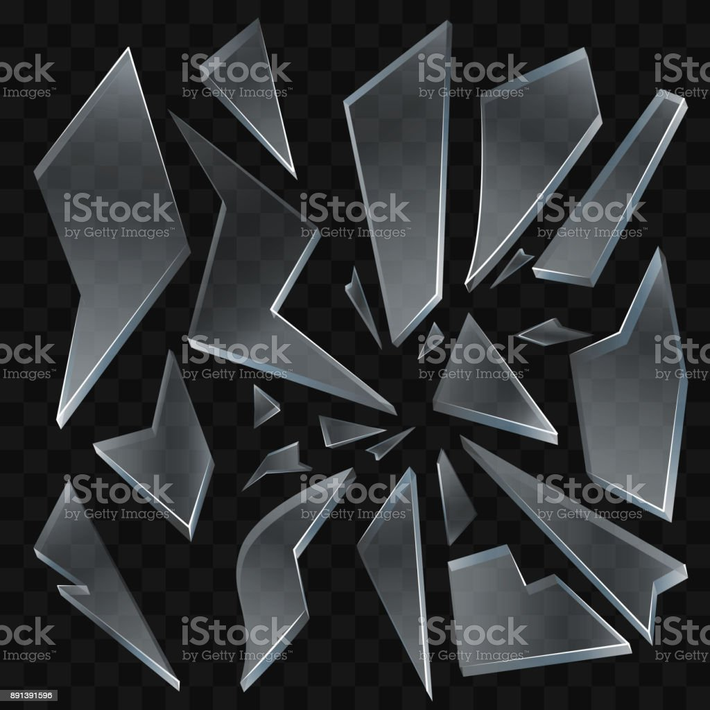 Zerbrochenes Glasscherben - moderne Vektor realistische isoliert ClipArt – Vektorgrafik