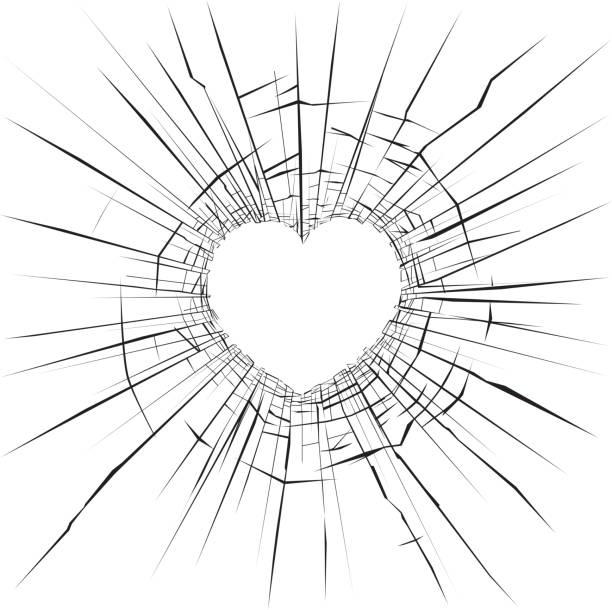 stockillustraties, clipart, cartoons en iconen met gebroken glas - liefdesverdriet