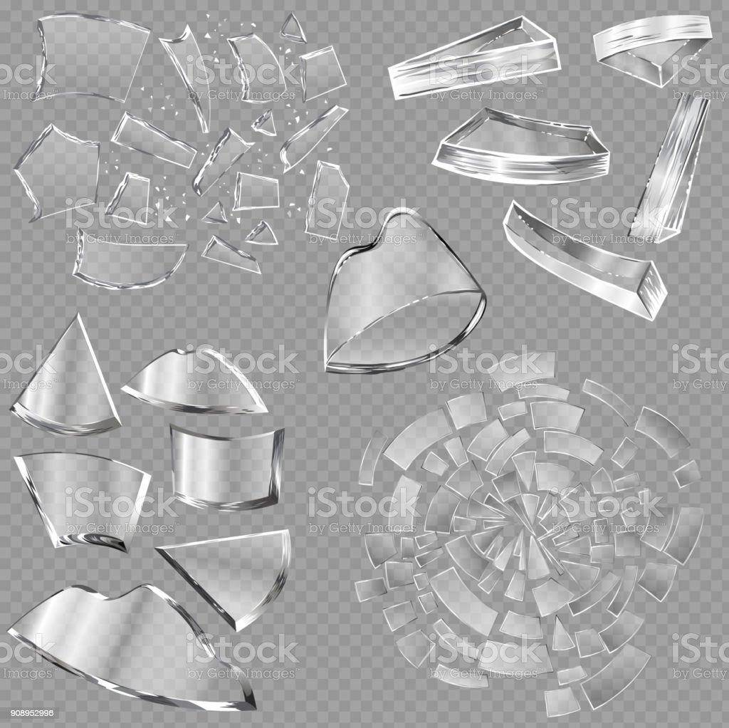 Zerbrochenes Glas Vektor scharfe Teile des Fensters und realistische erschüttert Glaswaren oder erschütternde Schutt der Spiegelung auf transparenten Hintergrund Illustration Hintergrund isoliert – Vektorgrafik