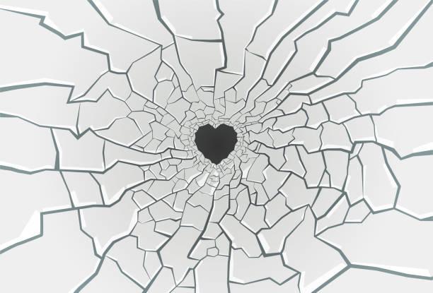 Broken Glass Vector heart-shaped broken glass illustration vandalism stock illustrations