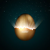 Broken golden easter egg giving birth to the universe. Rays of light and stars from cracks in an easter egg of gold on a dark background. Vector, creative greeting card design