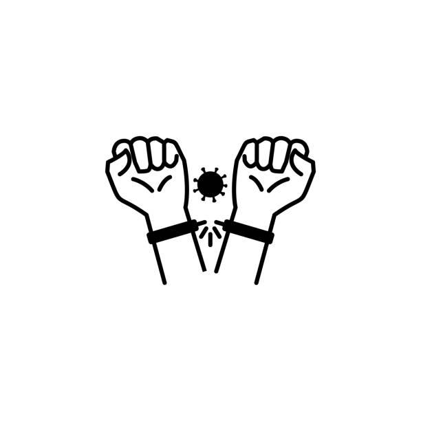 illustrazioni stock, clip art, cartoni animati e icone di tendenza di rotto, manette, icona illustrazione linea coronavirus su sfondo bianco - hand on glass covid