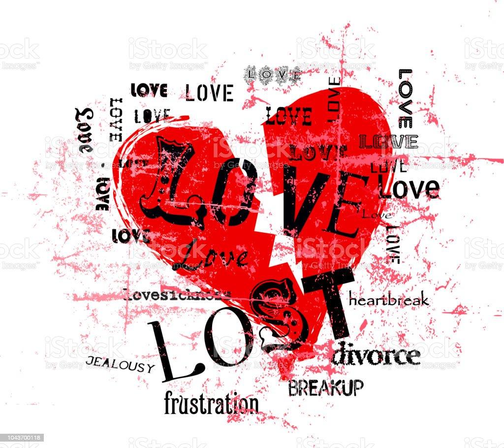 Gebrochene Herzen und verlorene Liebe Illustration, Grunge-Stil, Vektor – Vektorgrafik