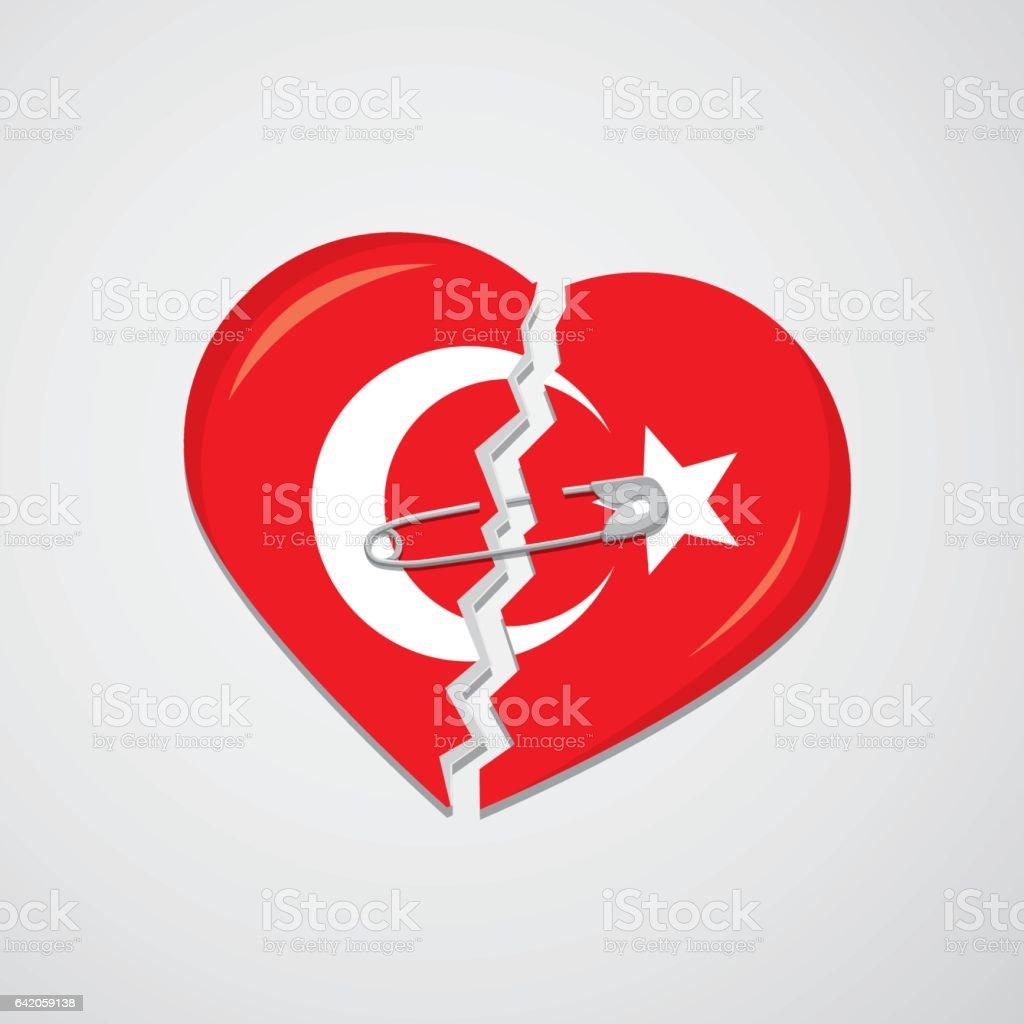 Broken heart as turkish flag with safety pin stock vector art broken heart as turkish flag with safety pin royalty free broken heart as turkish flag buycottarizona
