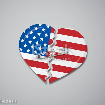 United States flag as a broken heart attached with safety pin