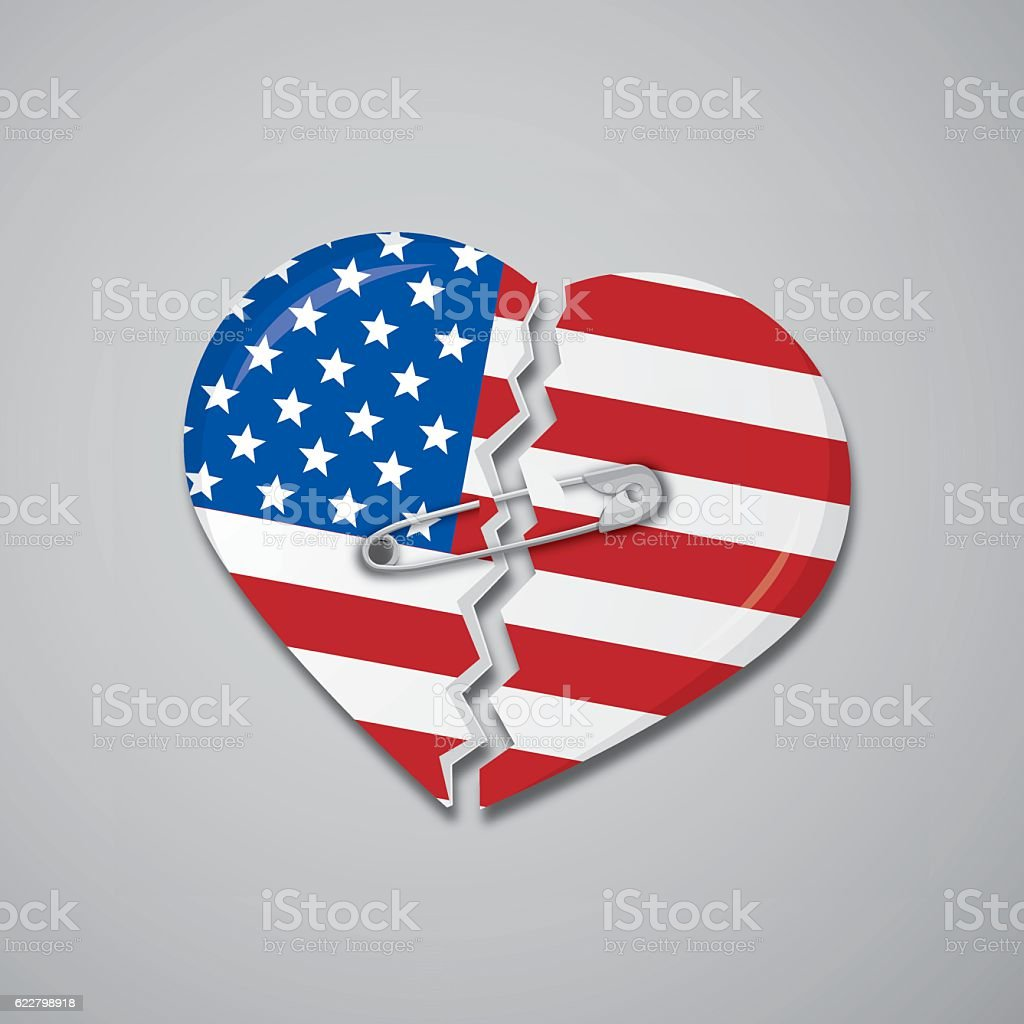 Broken heart as USA flag with safety pin vector art illustration