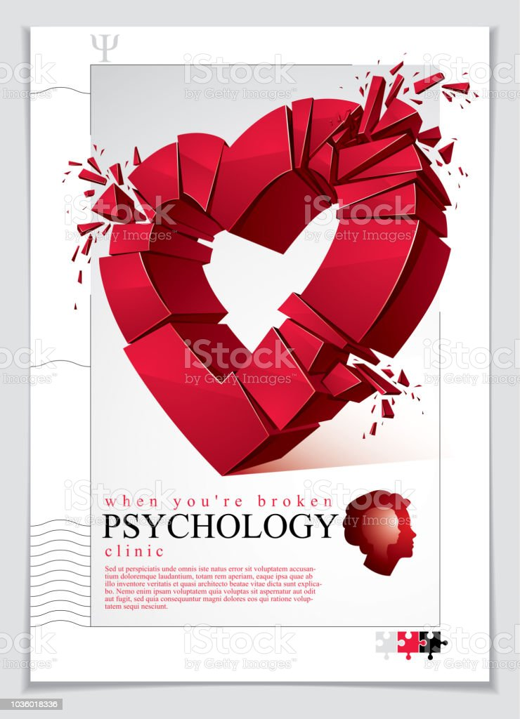 Broken Heart Concept Breakup 3d Realistic Vector Illustration Of