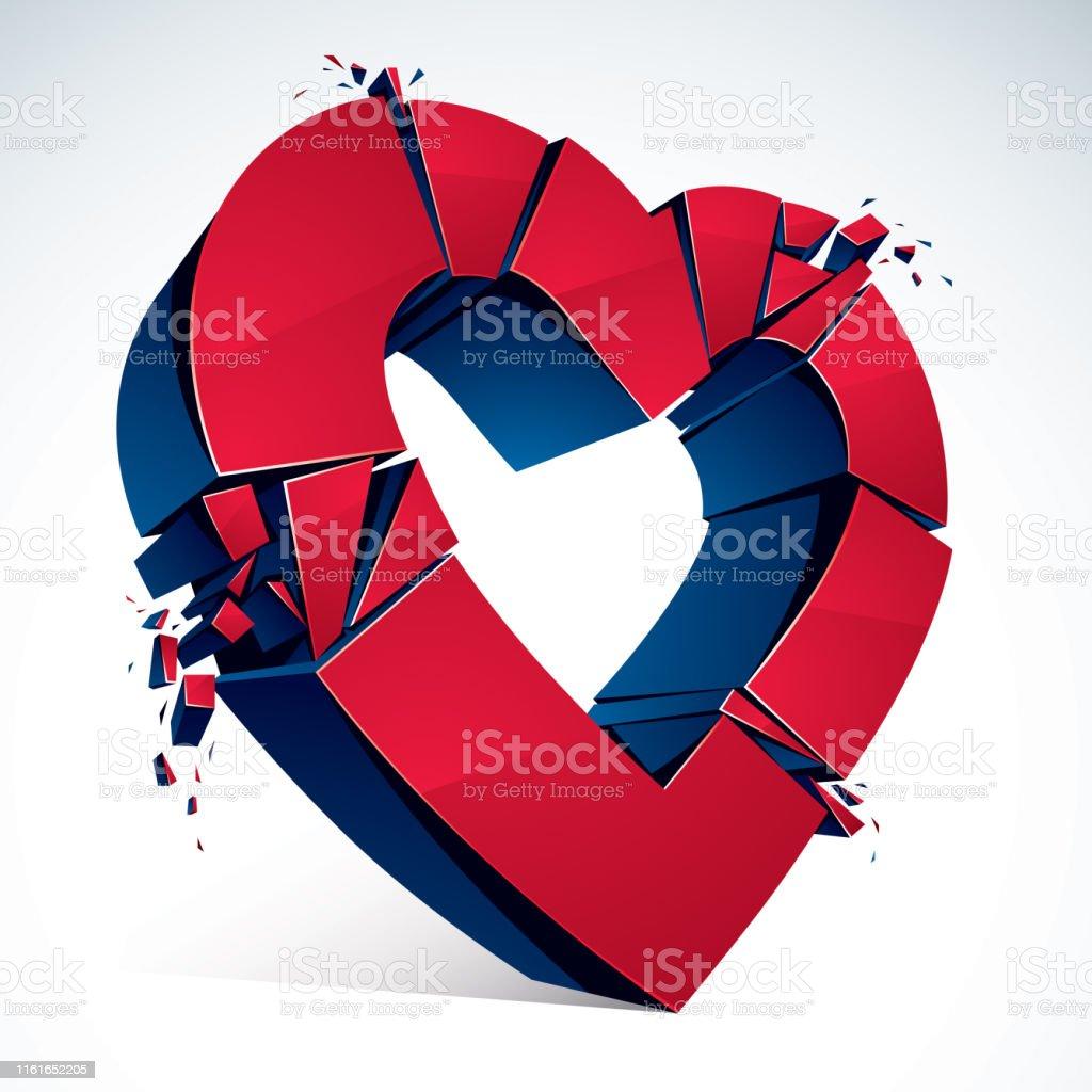 Broken Heart concept breakup, 3D realistic vector illustration of...