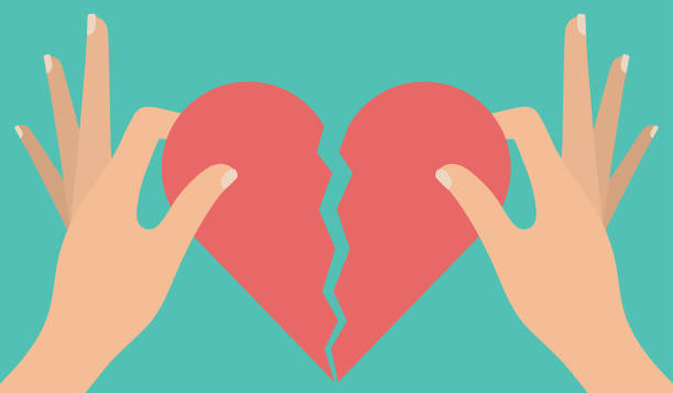 stockillustraties, clipart, cartoons en iconen met gebroken hart concept - liefdesverdriet