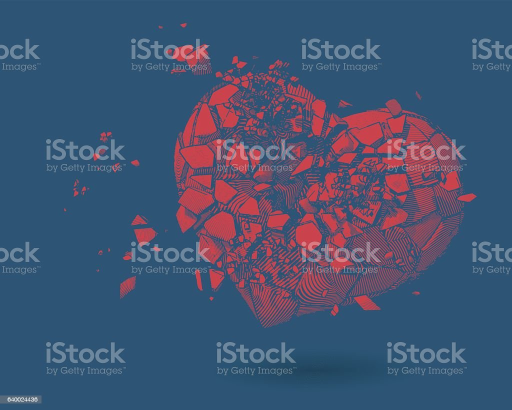 Broken heart drawing illustration on blue BG vector art illustration