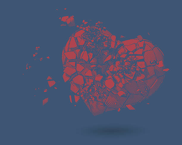 broken heart drawing illustration on blue bg - same sex couples stock illustrations
