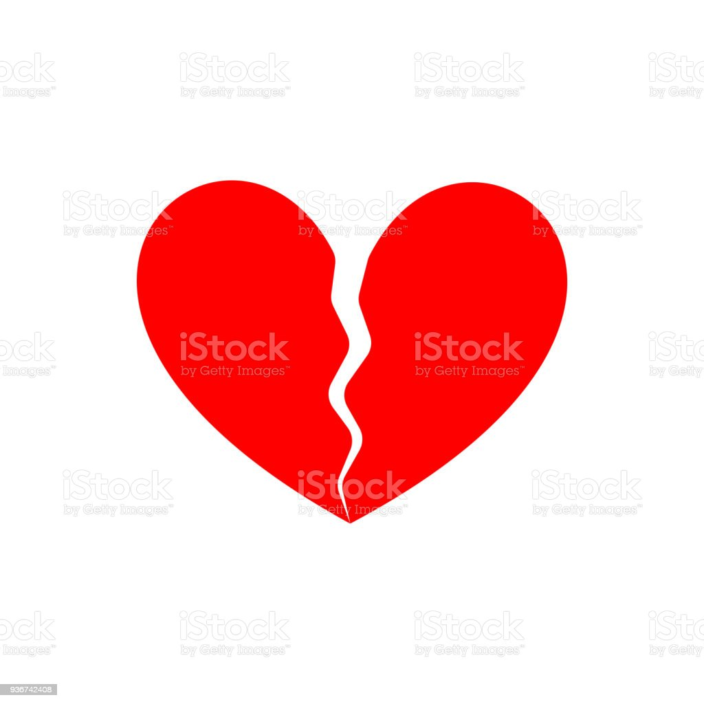 Broken heart. End of love. Symbol of parting vector art illustration