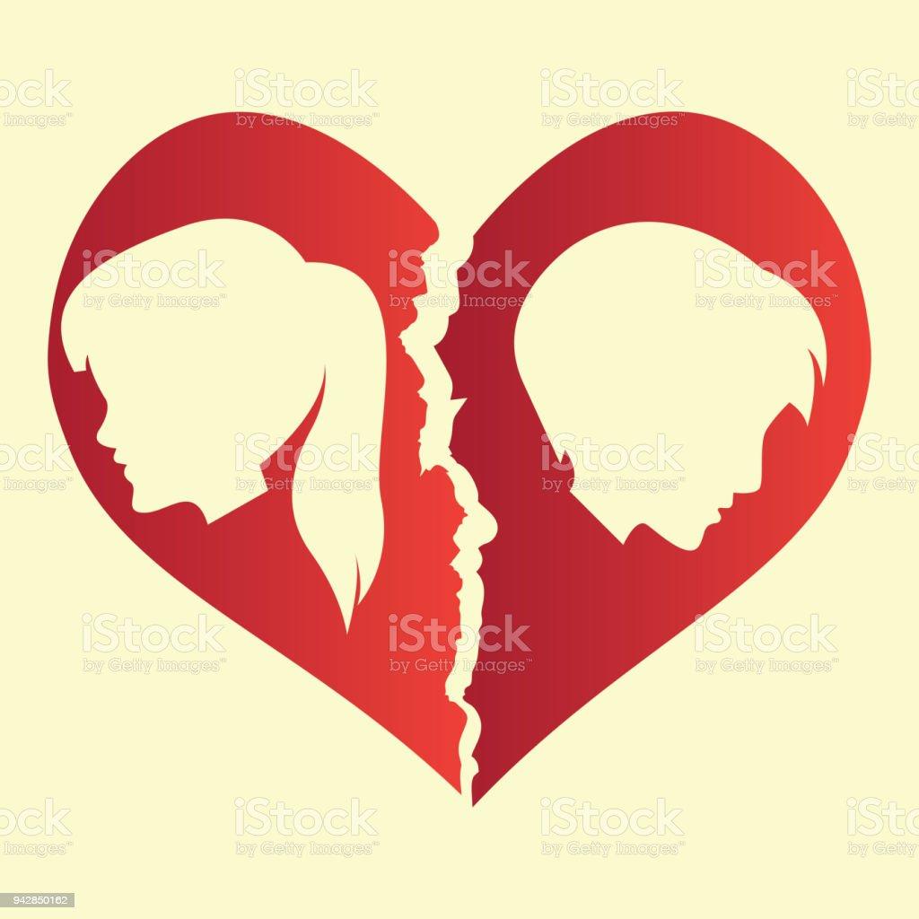 Broken Heart Heartbreak Flat Icon For Broken Heart Concept Vector