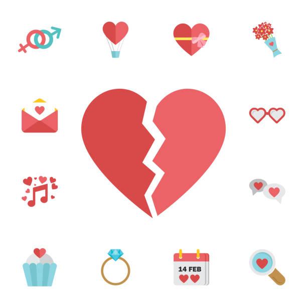 stockillustraties, clipart, cartoons en iconen met gebroken hart pictogram. digitale vector februari happy valentijnsdag en bruiloft feest kleur eenvoudig plat pictogrammenset - liefdesverdriet