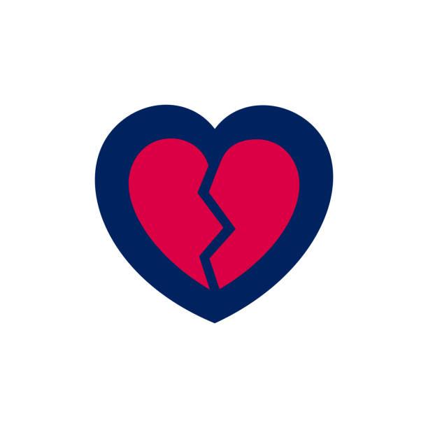 gebrochenes herz-symbol im blauen und roten farben - vertrauensbruch stock-grafiken, -clipart, -cartoons und -symbole